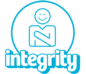 Person with a hand over their heart wih the word 'integrity' beneath it.