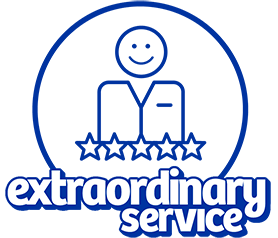 Smiling service representative with the words 'extraordinary service' beneath it.